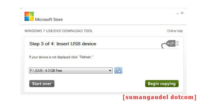 Insert USB drive to create bootable USB device