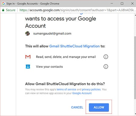 Image for Backup Gmail Emails allow shuttercloud