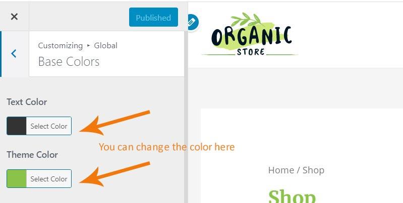 Free WooCommerce theme change color image