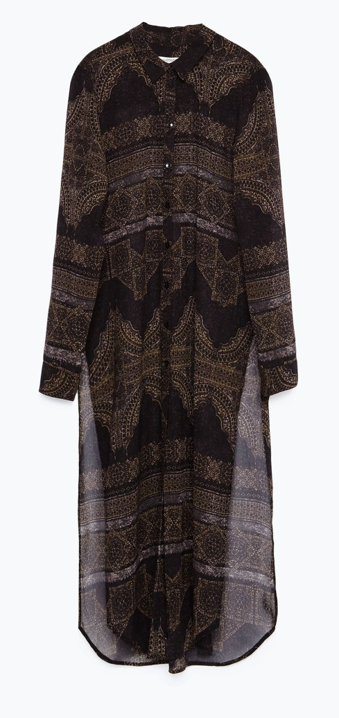 Camisa larga estampada -Zara