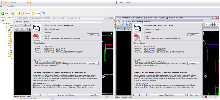 2 Bently View v8i running inside MojoPac - 1 installed, 2nd virtualized by ThinInstall (and both virtualized by MojoPac)