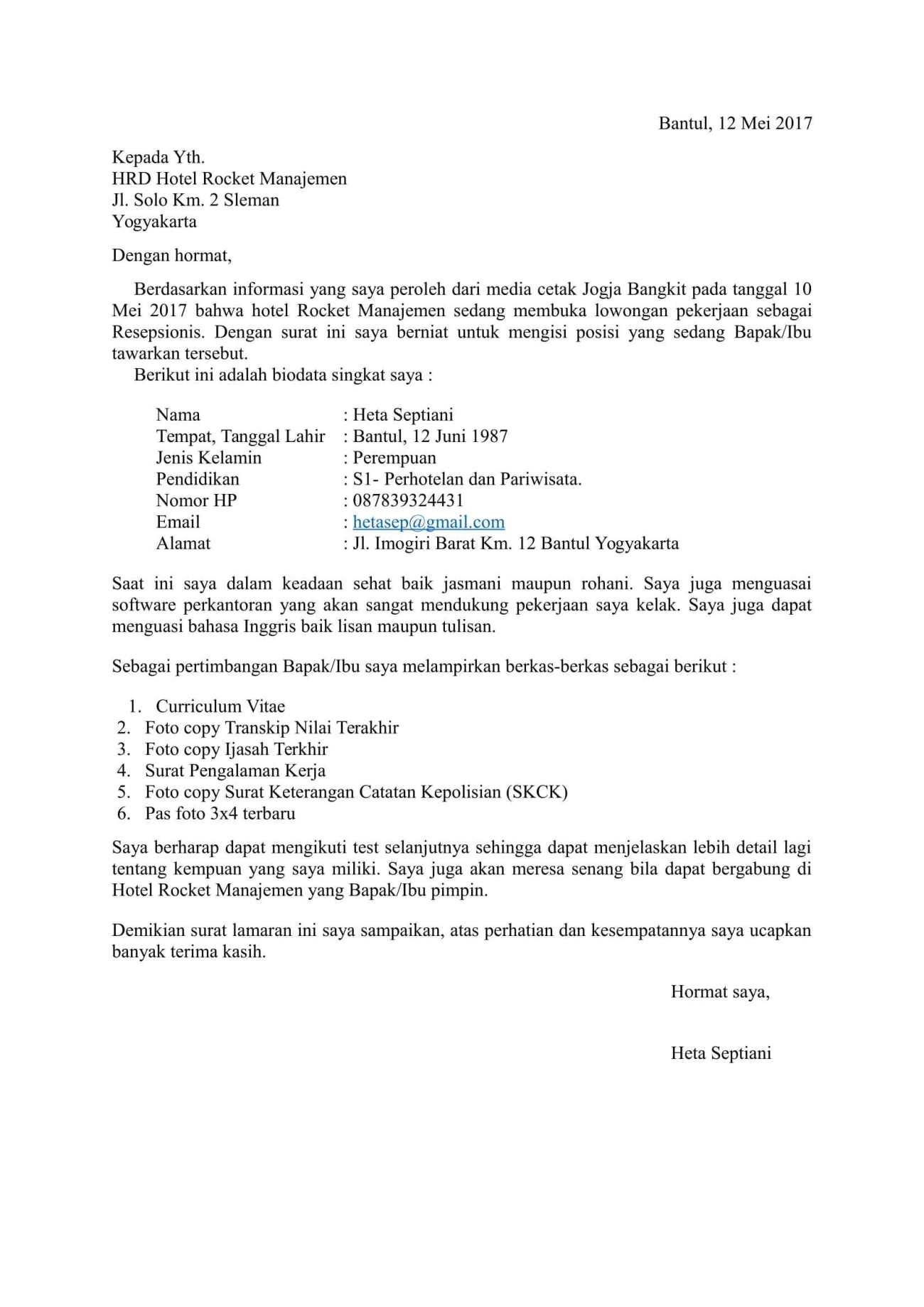 Contoh Surat Lamaran Kerja Umum Menarik Yang Simple Baik Dan Benar