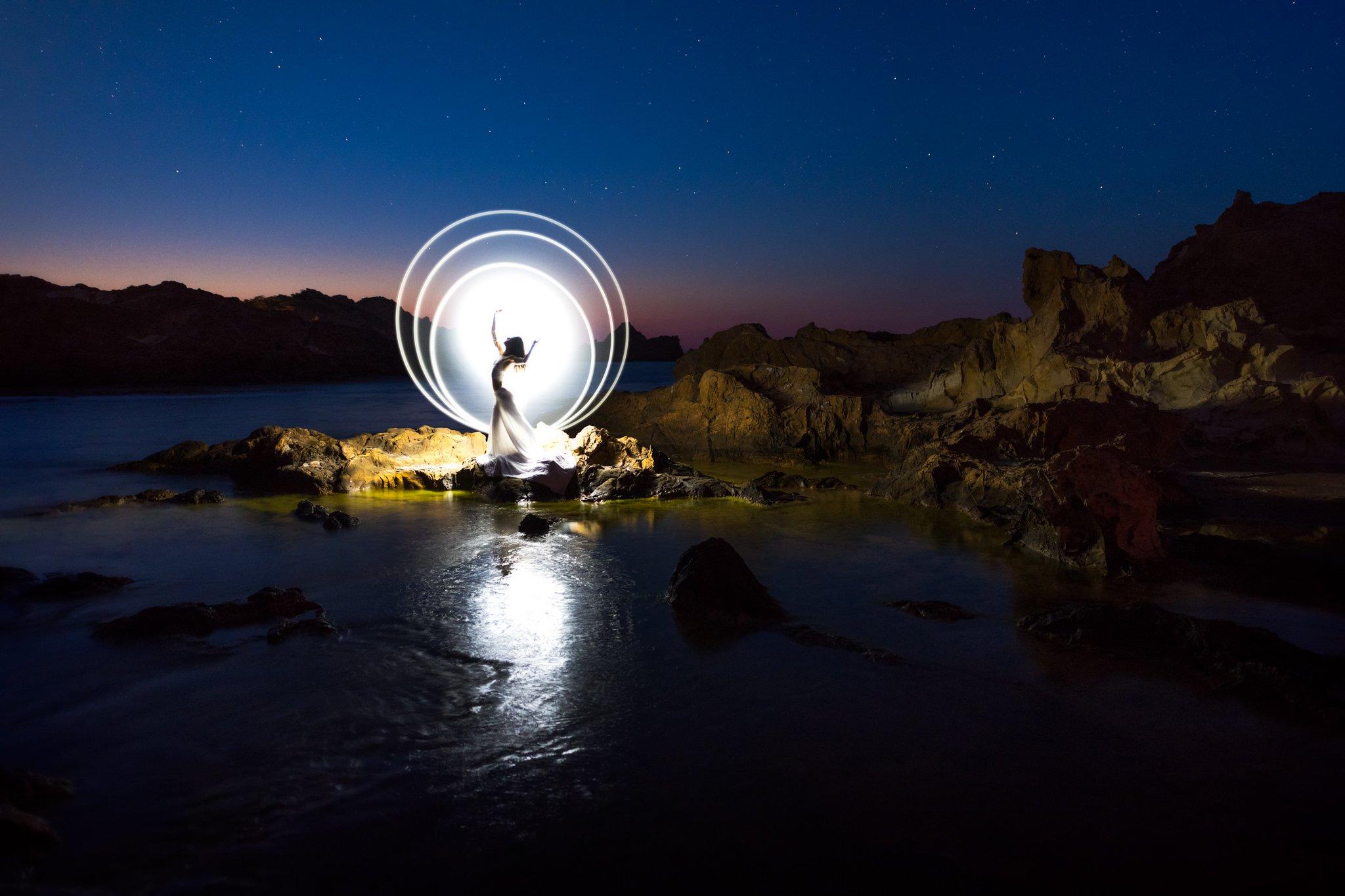 Przechwytywanie malowania światłem   Minorka, Hiszpania
