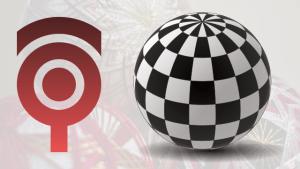 ワイヤーフレーム球体で市松柄のボール #36