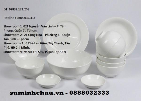 Tô sứ Minh Châu trắng T08 2