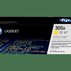 TONER HP 305A YELLOW, Color: Amarillo, Compatibilidad. HP LASERJET PRO 300/400, Rendimiento: 2600 páginas.