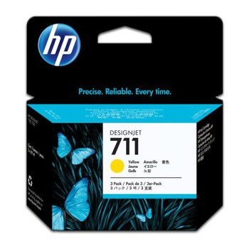 Tinta Plotter Hp Yellow 711 CZ132A para T120/T520 29ML , Cartucho para Plotter Hp 711 color yellow CZ132a 29 ml , tinta para plotter hp 711 yellow