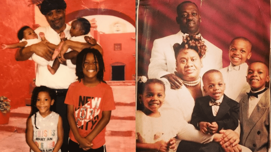 Gary Johnson, pictured on the left, and Rohan Bolt, pictured on the right, with their families. Both men were sentenced to fifty years to life following misconduct by Queens prosecutors.