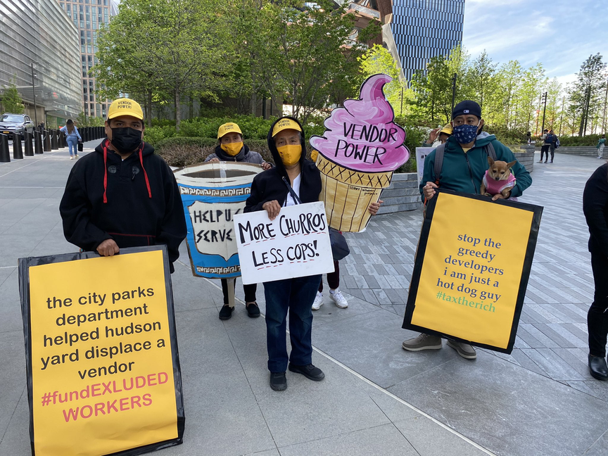 A group of street vendors gathered at Hudson Yards on Friday