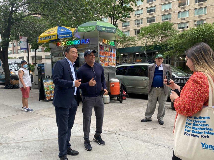 Andrew Yang and voter Rajan Shah