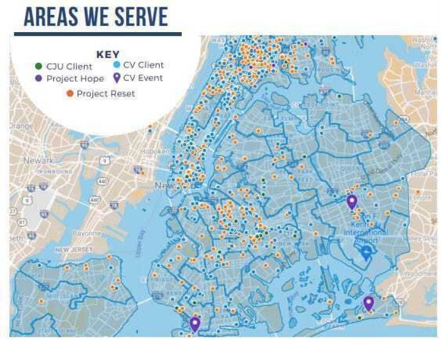 A map of NYC showing areas when Legal Aid worked with Cure Violence groups