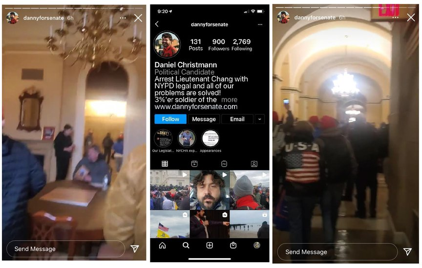 Screen grabs from Daniel Christmann's instagram account showing two images from his Stories from inside the capitol (you see the building's walls, with other rioters) and a screengrab of his overall instagram page