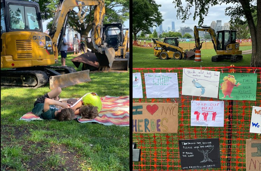 A photo of kids playing in front of bulldozers in Battery Park City, and a photo of signs left in front of a fence there