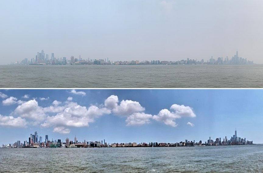 A photograph of the NYC skyline, from midtown to lower Manhattan as seen from Hoboken, with the haze, taken on July 20th, above a photo taken during the week of July 12th of the same view, but with clear blue skies and white clouds.