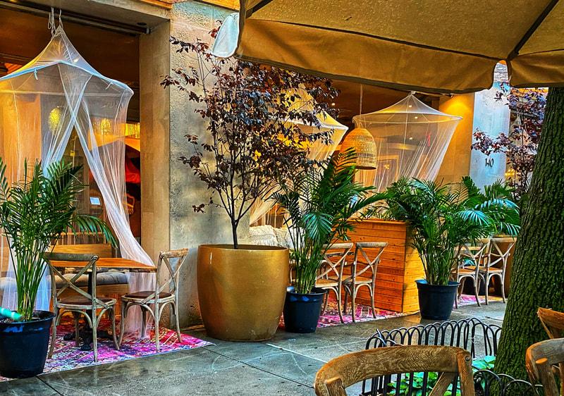 casa la femme's outdoor dining arrangement