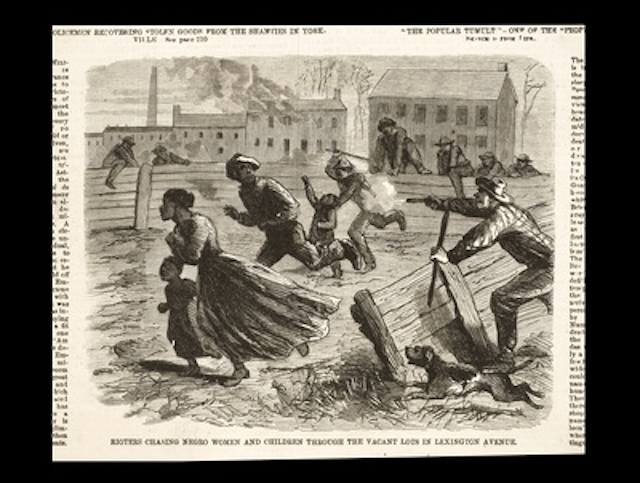 Rioters chasing Black women and children through the streets.