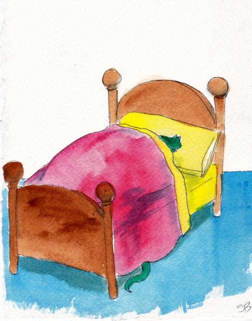 Dragon in Little Bear's bed.