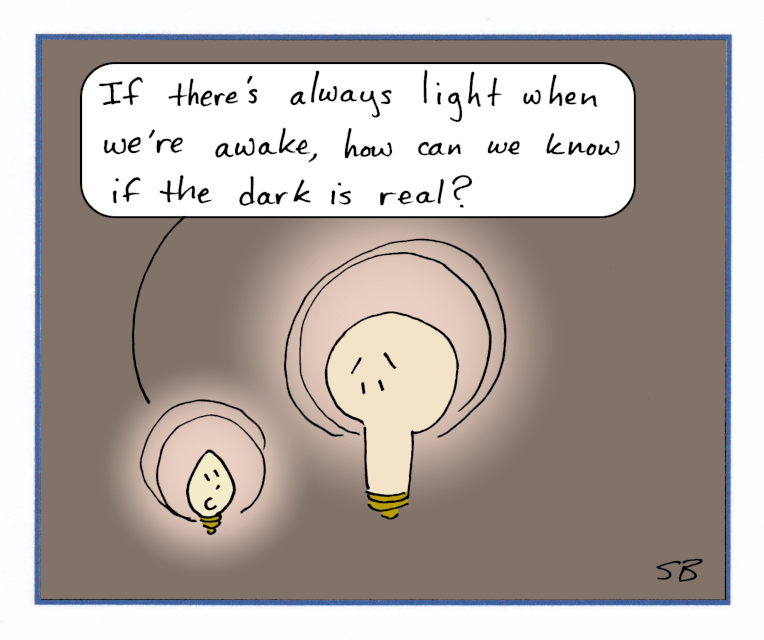 Two light bulbs asking existential questions about darkness.