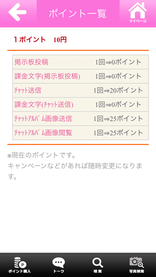 COMEの料金表