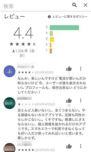レモンのGoogle Play内評価