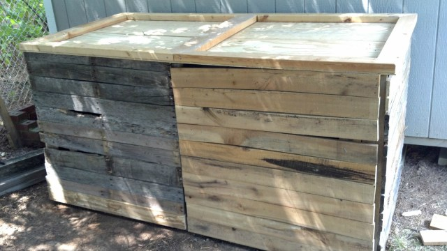 2 Compartment Wooden Compost Bin With Lid And Doors