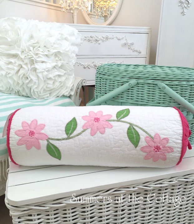 cottage chic pink embroidered flowers bolster pillow