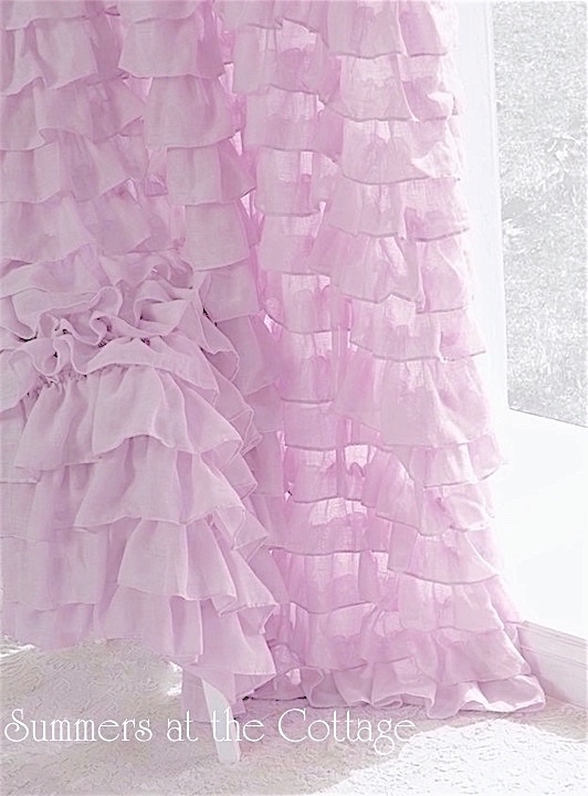 classically romantic ruffles pink lavender lilac ruffled shower curtain