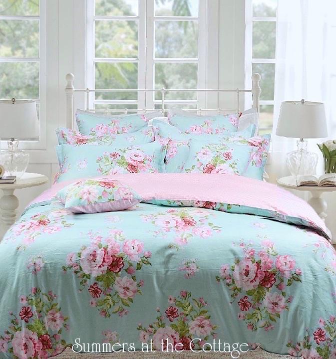 aqua blue pink roses shabby beach house chic duvet cover set queen or king