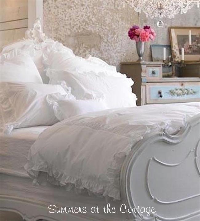 shabby chic rachel ashwell white ruched ruffle cotton poplin duvet set