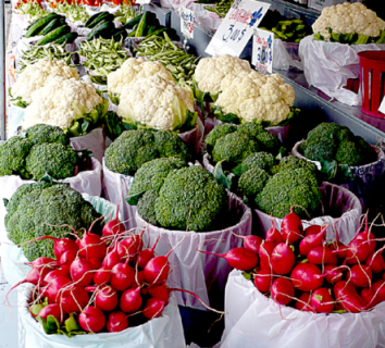 Radishes, Broccoli and Cauliflower