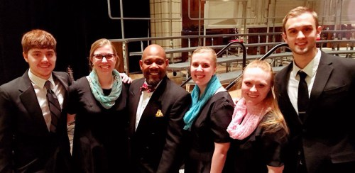 RMC students Kayleigh Griffith, Gretchen Carlson, Paige Schladetsch, Trevor Hunnes, and Mitchell Harmon enjoy their time at the 2017 American Choral Directors National Conference. Photo by the RMC music department