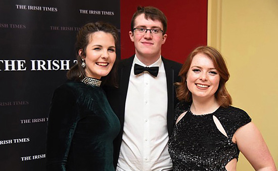 Pictured, from left to right, are the Irish Times National Champions: Aisling Tully, Dara Keenan and Leah Morgan. Photo courtesy of the Irish Times.