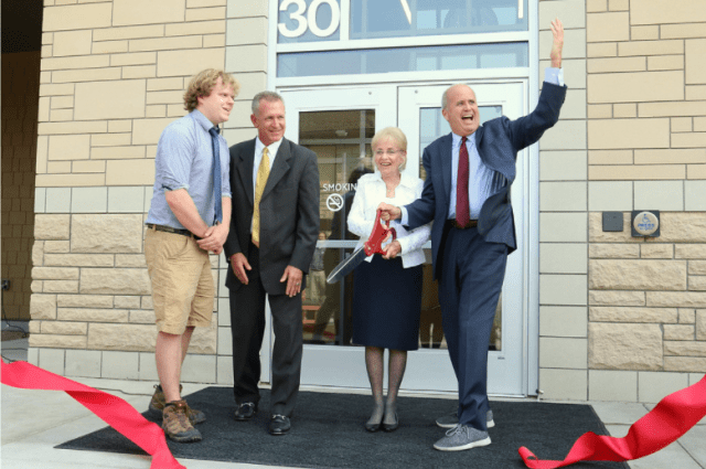 Rocky Mountain College president Robert Wilmouth at the ribbon-cutting ceremony for the Morledge Science building in 2018. Morledge is a product of one of the largest donations in Rocky Mountain College history.