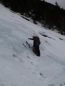 An ice climbing lesson in progress