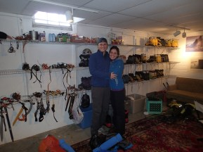Getting our plastic mountaineering boots and ice axes