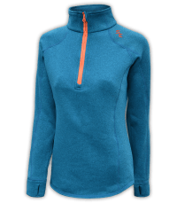 womens-stretchy-fleece-pullover-blue-orange-zipper-summit-edge-outerwear