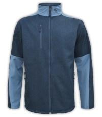 summit-edge-outdoor-clothing-brand-jacket-fleece-zip-up-woven-blue-denim-zipper-pockets-stand-up-collar-front