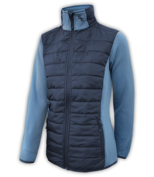 summit-edge-womens-outerwear-brand-jacket-black-nylon-quilted-down-zipper-pockets-horizontal-stand-up-collar-power-stretch-sleeves-blue-denim-outdoor-clothing