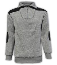 summit edge outerwear brand pullover, north shore fleece, salt & pepper, gray 1/4 zipper, black patches, collar