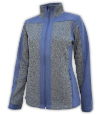 summit edge womens blue and gray full zip jacket embossed coarse weave fleece