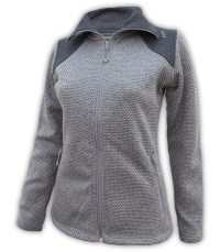 womens sweater fleece jacket gray dark summit edge brand full zip