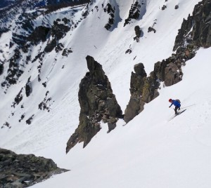 Eric skiing into the chute on Cathedral Bowl