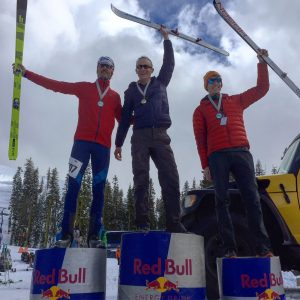 The three top racers on the podium of the Quad Crusher race
