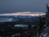 Sunset over Tahoe and Fallen Leaf Lake, with sun on Heavenly/Monument Peak