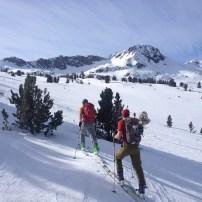 Skiing towards Round Top to access Deadwood Peak.