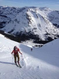 Ben skinning uphill and bennett lower on the skintrack