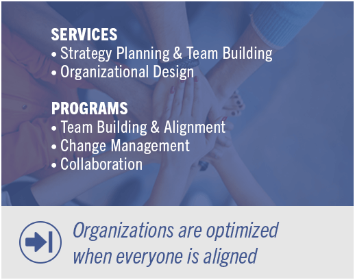 Services: Strategy-Planning & Team Building-Organizational Design | Programs: Team Building & Alignment-Change-Management-Collaboration