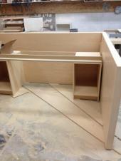 Inside Of reception Desk Being built