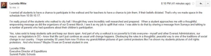 Witte walkout statement