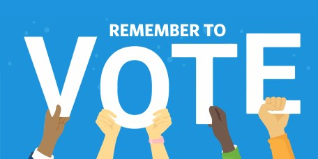 """On a blue background, white text reads """"remember to"""", then hands hold up each letter of """"vote"""""""